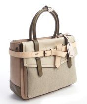 Reed Krakoff Taupe Colorblock Grained Leather Medium 'Boxer' Bag Taupe / Beige / Army Green