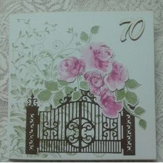 Birthday card made with Altenew Vintage Roses stamps and dies, Spellbinders Guilded Gate die and Hero Arts Leafy Vines stamp.