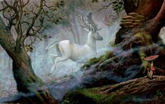 White deer hold a place in the mythology of many cultures. The Celtic people considered them to be messengers from the otherworld; it also played an important role in other pre-Indo-European cultures, especially in the North. The Celts believed that the white stag would appear when one was transgressing a taboo, such as when Pwyll tresspassed into Arawn's hunting grounds. Arthurian legend states that the creature has a perennial ability to evade capture; and that the pursuit of the animal…