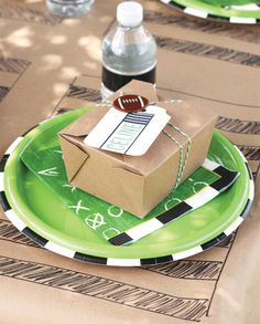 "Here is a serving idea for a party that keeps everything WELL contained. And for sure, what ever you put in there will be ""all tied up"" ahead of time. This idea could be used for a party of any theme, really, if you just tied the box with a theme charm to match your party."