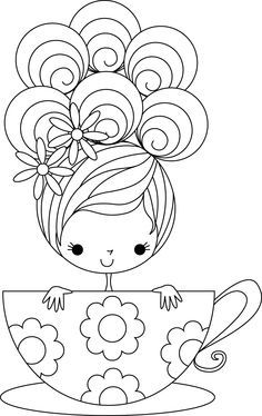 Curly Haired Girl In Teacup