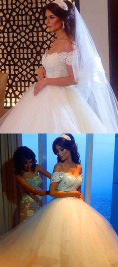 #ball gown wedding dresses #lace wedding dresses #off the shoulder wedding…