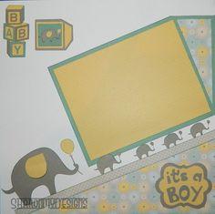Baby Boy Handmade Scrapbook Layout by SharonMyDesigns on Etsy