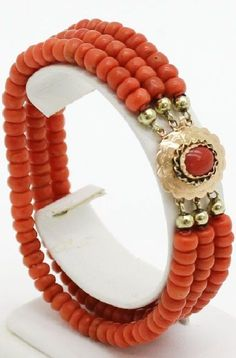 Beautiful coral and gold bracelet.