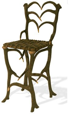 Antler Side Stool - This hand cast aluminum 'Elk antler' outdoor bar stool with its hand cast 'woven leather' seat goes along nicely with the Antler Bar table and accents any bar area.