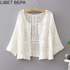 New crochet clothes for women fashion outfits lace tops Ideas Crochet Baby Hats, Crochet Clothes, Crochet Lace, Crochet Summer, Summer Kimono, Summer Jacket, White Lace Blouse, Sexy Shirts, White Shirts