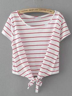 Camiseta de rayas con detalle de nudo-(Sheinside)