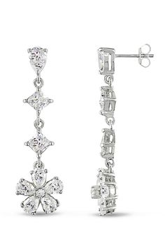 Sofia B 15.33 ct Zirconia Fancy Drop Earrings in Silver - Beyond the Rack
