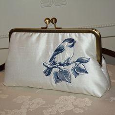 Bird on a Branch Clutch/Purse/Bag..Bridal/Wedding por Paulownias, $70.00