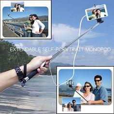 NEW Selfie Mobile Phone Camera Retractable Monopod Tripod Mount Remote Shutter