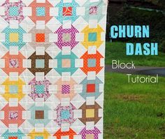 Churn-Dash-Block-Tutorial-Cluck-Cluck-- This is a fun quilt to make…chain piece everything and you can whip up a stack of blocks quick-ish.  This tutorial makes a 9″ finished block (9 1/2″ unfinished).