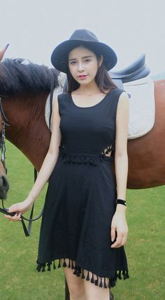 Fashiontroy  Hipster & indie sleeveless crew neck black pink cutout cotton blend mini dress