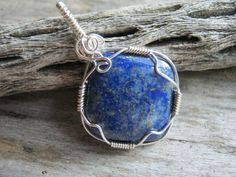 Lapis Lazuli Pendant Necklace Wire Wrapped Lapis Denim