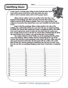 Parts Speech Worksheets   Noun Worksheets