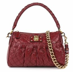"MARC JACOBS ""Julianne Stam"" Red Quilted Leather Chain Strap Shoulder Bag Purse  #MarcJacobs #ShoulderBag"