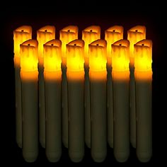"""Package include: 12 x Led Taper Candle with Flickering Wick. Main material: Plastic. Light color: Amber(yellow). Easy to use, tighten or loose the cap on bottom of the candle for ON/OFF. Each candle measures 6.25"""" H x .875"""" D, each uses 2 x AA Batteries (not included). Great for floral arrangements, weddings, home decor, churches, candle light vigils and more!."""