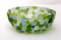 DIY Sea Glass Bowl make a bowl in put a candle in it...