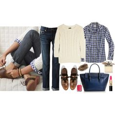 sweater; white collard shirt; blue checker