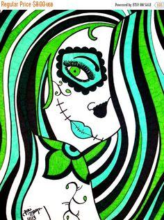 CIJSALE Sugar Skull Girl 8x10 Inch Print Green by ToniTiger415
