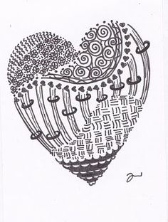 Heart Zentangle.  Doodling with love.