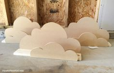 DIY Cloud Bookshelf Ledges - Kids Bedrooms and Nursery Decor - cloud bookshelf ledge tutorial - Creative Bookshelves, Bookshelves Kids, Bookshelf Design, Diy Nursery Decor, Playroom Decor, Baby Room Decor, Kid Decor, Home Decor, Kids Bedroom Designs