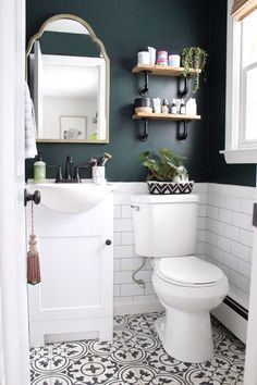 Charming Green Bathroom Colors 66 For Interior Design For Home Remodeling for Green Bathroom Colors Can you Want a good living room decoration concept? Well, for this particular thing, you have to understand about the Green Bathroom Colors. The subje. Upstairs Bathrooms, Downstairs Bathroom, Master Bathroom, Budget Bathroom, Bathroom Accent Wall, Bathroom Hacks, Bathroom Vanities, Bathroom Remodeling, Bathroom Storage