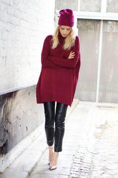 Stylish oversized burgundy sweater
