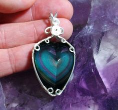 Carved Heart Rainbow Obsidian Protection Sterling Silver Wire Wrap Reiki Pendant