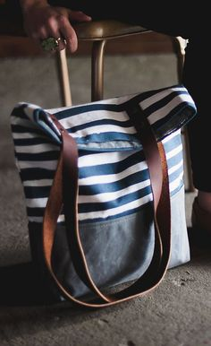 Brush Stripe Canvas Tote