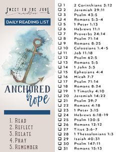 Sweet To The Soul Ministries - Anchored Hope - 31 Day Scripture Reading list Bible Study Plans, Bible Study Notebook, Bible Plan, Bible Study Tips, Bible Study Journal, Bible Lessons, Scripture Journal, Scripture Reading, Scripture Study
