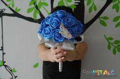 Items similar to Something Blue Satin Ribbon Rose Wedding Bouquet with feather brooch, Handmade on Etsy Something Blue Satin Ribbon Rose Wedding Bouquet by CuriousPetals<br> Dusty Rose Wedding, Rose Wedding Bouquet, Cream Wedding, Satin Ribbon Roses, Ribbon Bouquet, Blue Ribbon, Wedding Jitters, Outdoor Wedding Inspiration, Wedding Honeymoons