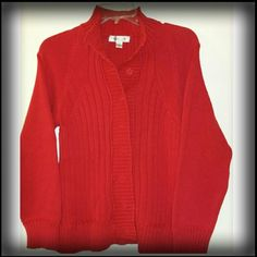 RED COLDWATER CREEK SWEATER A red knit sweater with hidden snap closures.  GUC. Coldwater Creek Sweaters Cardigans