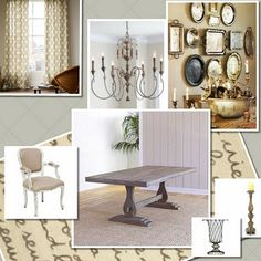 French country dining room design board.  Trestle table, french chandelier, mixed antique silver platters and modren drapes and rug.
