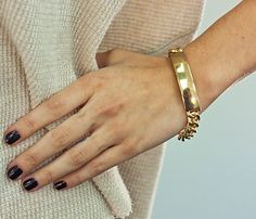 Gold ID Bracelet.   Ohh I want this to replace the one dre's name wore off on