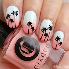 Sunset Tropical Nail Art ★ Tropical nails are the best addition for those gorgeous summer outfits you have prepared for the sunny days. Do not fear to use your imagination! Nail Art Designs, Beach Nail Designs, Short Nail Designs, Nails Design, Beach Design, Salon Design, Tree Designs, Tropical Nail Designs, Tropical Nail Art