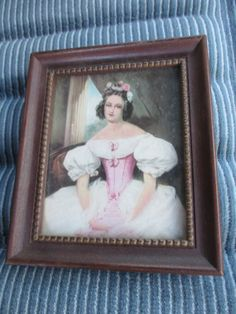 Vtg Wood Framed Victorian Lady Portrait in Pink Print Ribbed Inner Band Smaller Size Picture Frame by treasuretrovemarket on Etsy