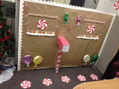 Decorate your cubicle for Christmas with dollar store items! This design was $5.00 total!