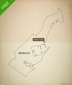 Free vector map of Monaco outline - Printable map and editable vector map
