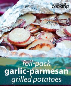 Quick cooking and easy clean-up: That's the magic of foil-pack recipes. Seal in garlic and parmesan flavours with this yummy potato side. Go on, get grilling! Click or tap photo for this easy #recipe.