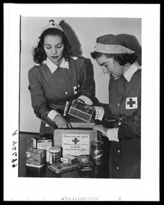 American Red Cross girls package parcels for POW in WWII