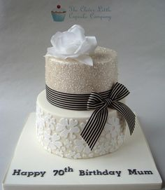 Glittery 70th Birthday Cake - Cake by The Clever Little Cupcake Company (Amanda Mumbray)                                                                                                                                                                                 More