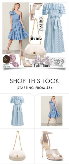 """""""Striped cotton-blend dress"""" by creativity30 ❤ liked on Polyvore featuring Gül Hürgel, Venus and Chanel"""
