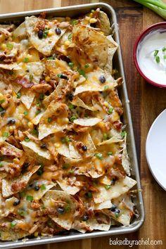 Easy crowd pleasing barbecue chicken nachos recipe from @bakedbyrachel: