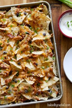Easy crowd pleasing barbecue chicken nachos recipe from @Rachel {Baked by Rachel}