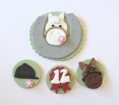 Edible icing Horse pony themed cake topper with matching cupcake decorations
