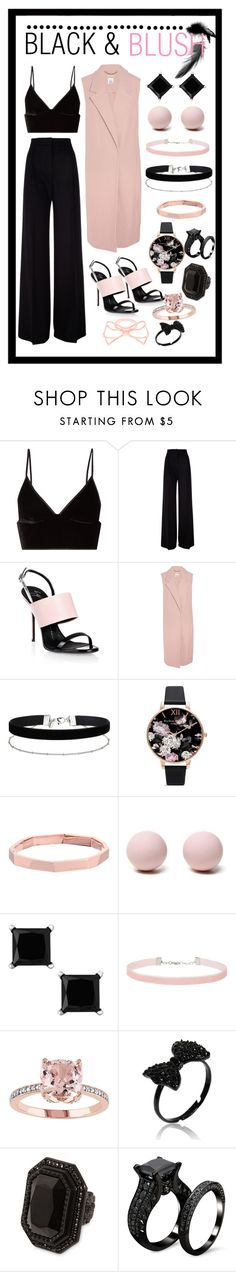 """BLACK & BLUSH"" by sadia1998 ❤ liked on Polyvore featuring T By Alexander Wang, MaxMara, Giuseppe Zanotti, Iris & Ink, Miss Selfridge, Olivia Burton, Michael Kors, Hring eftir hring, Dsquared2 and Ted Baker"
