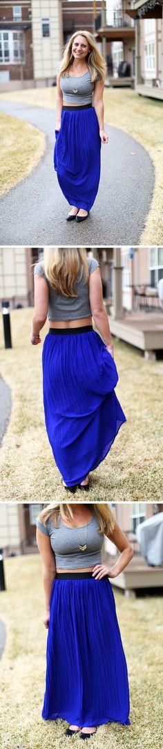 Stitch Fix Reviews | Stitch Fix Review By Lee: Blue Spring Maxi Skirt! | http://stitchfixreviews.com