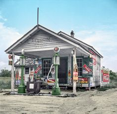Or the Currin Grocery in Granville County, North Carolina in 1932 . . hand colored old photo