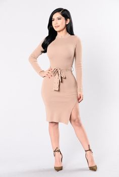 - Available in Black and Milk/Coffee - Long Sleeve - Mini Dress - Gold Detail - 70% Rayon 30% Nylon