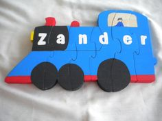 Train name puzzle, wooden, hand painted, handcrafted, acrylic paint, non-toxic, child's name, personalized, blue and red train;educational by WoodnThingsNY12534 on Etsy
